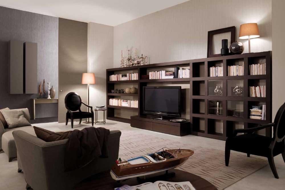 کتابخانه چوبی کلاسیک برای دیوار پشت تلویزیون