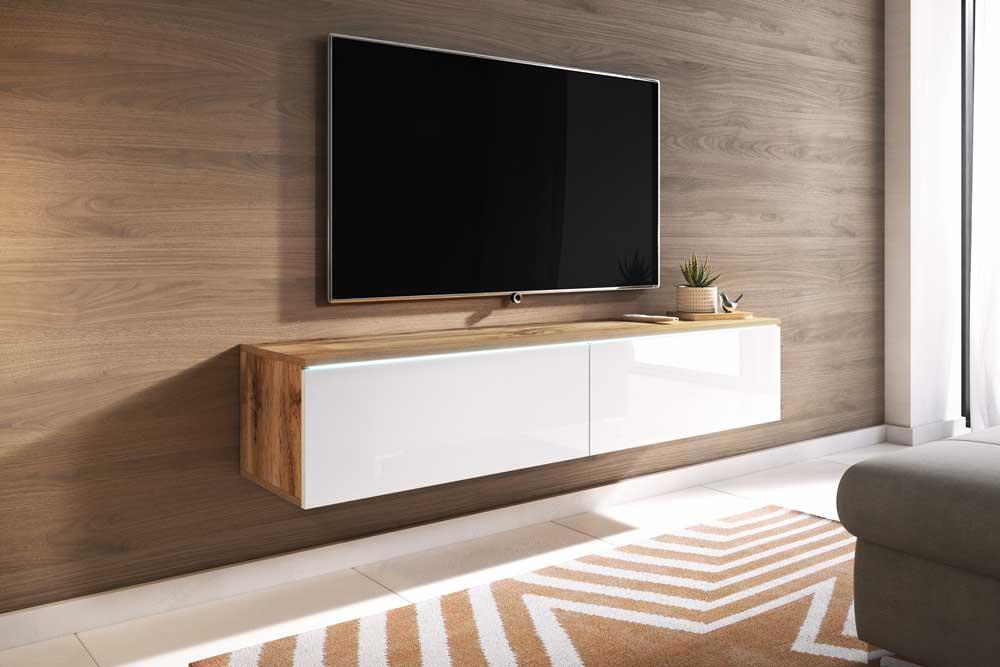 میز تلویزیون های گلاس سفید قهوه ای